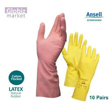 New Ansell Econohands Rubber Gloves flocklined Industrial Household - 10 pairs
