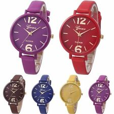 Women's Watch Geneva Thin Narrow Faux Leather Strap Wrist Watch Analog Quartz UK