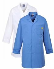 Portwest AS10 hospital blue or white anti-static ESD coat size XS-3XL