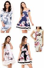 New Women's Rose Floral Mesh Insert Bodycon Bardot Lace Up Skater Dress Top
