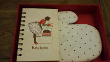 Red or Brown oven glove /mitt with blank recipe book. Gift boxed. Clearance Sale