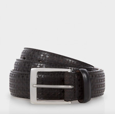 Paul Smith Men's Belt - BNWT Brown Leather Laser Etched ' Basket Geo' /RRP:£120