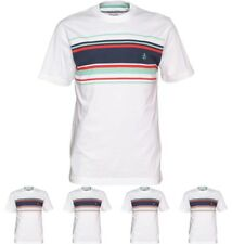 BRANDS Original Penguin Mens Chest Printed Stripe T-Shirt Bright White Small Ch