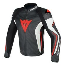 Dainese ASSEN LEATHER JACKET in Black/White/Red-Fluo | Motorrad Lederjacke TOP!