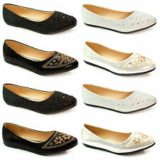 Womens Ballerina Ballet Dolly Pumps Ladies Flat Black Loafers Shoes Size Girls