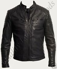 MEN PREMIUM SOFT SYNTHETIC LEATHER JACKET BIKER QUILTED PADDED BLUF ROCK PUNK 1N