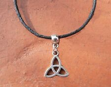 Celtic Triquetra Trinity Knot Pendant Cord Necklace Christian Pagan Wiccan Gift