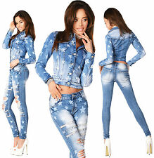 Sexy Womens Stylish Wash Cropped Jacket / Jeans Skinny Slim Mid Waist D 795