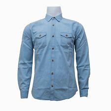 Castro Jeans Mens Gents Long Sleeve Denim Shirt Button Fastening Top Casual