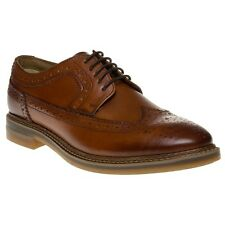 New Mens Base London Tan Turner Leather Shoes Brogue Lace Up