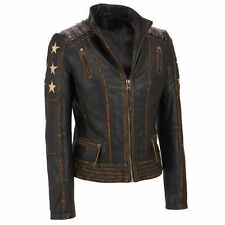 Women's Distressed Brown Cafe Racer Vintage Biker Leather Jacket