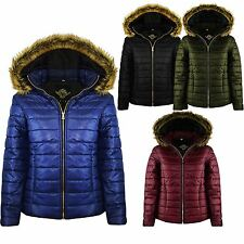 New Ladies WET LOOK Quilted Puffer Hooded Faux FUR Bubble Coat Jacket TOP 8-14