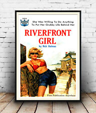 Riverfront Girl Poster reproduction. Vintage pulp book cover
