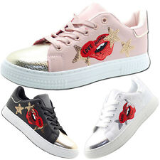 Ladies Casual Sneakers Shoes Shiny Toe Embroidery Sequined Flats Pumps Women