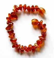 Natural Baltic amber bracelet anklet child amber baby to teen sizes cognac beads