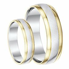 His & Hers 9ct Yellow & Silver Gold Wedding Rings 5mm & 6mm Bands