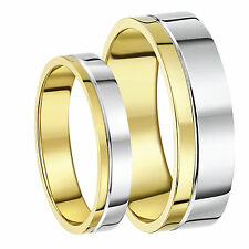 9ct Two-Colour His & Hers Wedding Ring Bands 4mm 6mm Bands