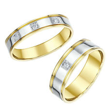 His & Hers  Wedding Rings 18ct Two Colour Diamond 4&6mm Bands