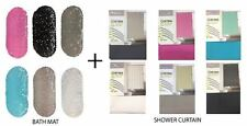 NEW Non Slip Bath Mat Shower Curtain + Modern PEVA Shower Curtain 180x180cm SET