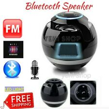 Bluetooth Speaker Portable Boombox FM Radio, MicroSD with LED LIGHT & MIC