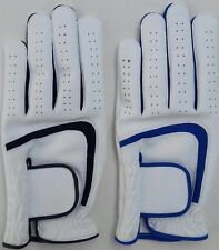 5  X White Men's All Weather Soft Golf Gloves Leather Palm Patch - CHOOSE TRIM
