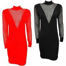 New Ladies V Fishnet Mesh Insert Polo Neck Bodycon Slim Fit Tunic Dress 8-14