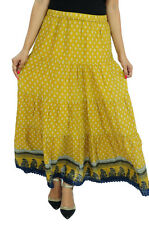GOODWILL Women's Casual Wear Terivoil & lining Cotton Yellow Skirt (GW-439)