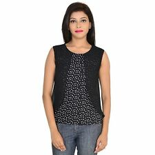 VS FASHION Women's Casual Wear Printed Sleeveless Black  Georgette Top (VS-003)
