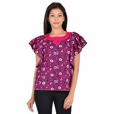 VS FASHION Casual Wear Half-Sleeve Floral Print Purple Cotton Top (VS-047)