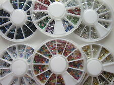 1 Wheel 3D Nail Art Rhinestones Glitters Acrylic Tips Decoration UK seller