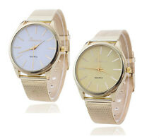 Women's Watch Geneva Stainless Steel Mesh Golden Wrist Watch Analog Quartz UK
