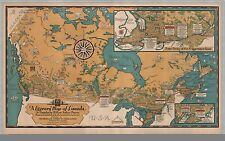 Photo Reprint Antique Old Maps 1936 Reprint Literary Map Canada