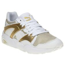 New Womens Puma White Gold Blaze Leather Trainers Retro Lace Up