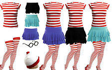 NEW WOMEN'S WHERES WALLY STRIPS T-SHIRT KIT HEN PARTY COSTUME 8 10 12 14 16