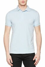 French Connection Men's Cotton Polo Shirt Top T-shirt New Kentucky Blue Melange