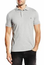 French Connection Men's Cotton Polo Shirt Top T-shirt New Light Grey Melange
