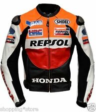 HONDA REPSOL MOTORCYCLE LEATHER JACKET MEN RACING BIKER JACKET MOTORBIKE JACKET