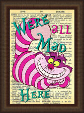 Alice in Wonderlands Cheshire Cat Wall Sticker Vintage Dictionary Decal