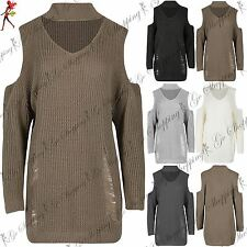 New Womens Ladies Destroyed Ripped Oversized Chunky Knit Knitted Jumper Dress