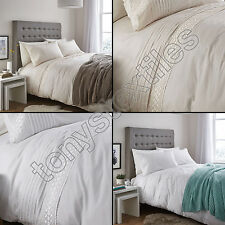 CATHERINE LANSFIELD CLASSIC LACE BANDS BEDDING QUILT DUVET COVER SET WHITE CREAM