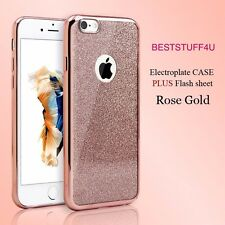 GLITTER BACK Fits IPhone  Soft Bling Shock Proof Silicone Case Plating Frame w53