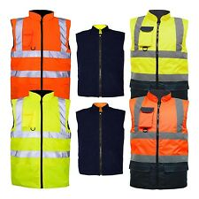 3.HI VIZ VIS VISIBILITY FLEECE REVERSIBLE WATERPROOF BODY WARMER GILET WAISTCOAT
