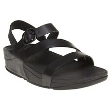 New Womens FitFlop Black The Skinny Z Cross Leather Sandals Buckle