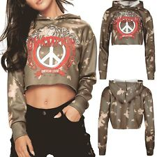 Womens Tie Dye Peace American Legend Champion Sweatshirt Hoody Hoodie Crop Top