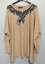 New Womens Plain Long Sleeves Contrast Floral Embroidered Neckline Italian Top