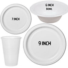 100 - 500 STRONG DISPOSABLE PLASTIC PLATES CUPS BOWLS LARGE SMALL 23 9 18 7 15 6