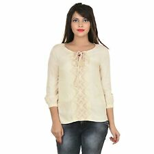 VS FASHION Women's Beige Embroidered Rayon Top (VS-083)