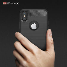Carbon Fiber Texture Soft TPU Slim Back Cover Case For Iphone X 8 7 6S 5S Plus