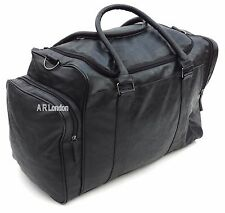 Large Leather Weekend Holdall Duffle Travel Sports Cabin Gym Bag Tan Black NEW