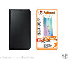 Combo of Leather Flip Cover & Tempered Glass For Gionee Pioneer P5L Back Case